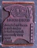 Carimbo de borracha antigo da estação de correios Imagem de Stock