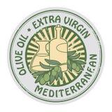 Carimbo de borracha do Grunge com as azeitonas e o Virgin extra Olive Oil do texto ilustração royalty free
