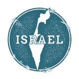 Carimbo de borracha do Grunge com nome e mapa de Israel ilustração royalty free