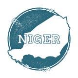 Carimbo de borracha do Grunge com nome e mapa de Niger ilustração royalty free