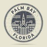 Carimbo de borracha ou etiqueta do Grunge com a baía da palma do texto, Florida ilustração do vetor