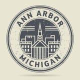 Carimbo de borracha ou etiqueta do Grunge com texto Ann Arbor, Michigan ilustração royalty free