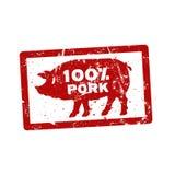 Carimbo de borracha vermelho do Grunge com os por cento i escrito carne de porco do texto 100 Imagens de Stock Royalty Free