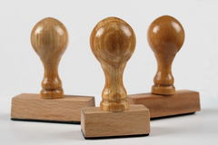 Carimbos de borracha de madeira Imagem de Stock