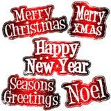 Carimbos de borracha do Natal e do ano novo Foto de Stock