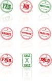 Carimbos de borracha do vetor no fundo branco Foto de Stock Royalty Free