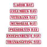 Carimbos de borracha dos feriados dos EUA Imagens de Stock