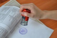 Carimbos de borracha fêmeas da posse da mão sobre originais e papéis na tabela do escritório, tiro do detalhe do close up fotos de stock