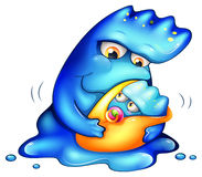 A caring blue monster. Illustration of a caring blue monster on a white background Royalty Free Stock Image
