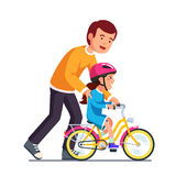 Caring dad teaching daughter to ride bike. For the first time. Father man helping girl kid riding bicycle. Parenting, fatherhood concept. Flat style vector Royalty Free Stock Photos