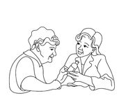 Caring for the elderly.Consultation medical diagnosis. Stock Image