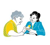 Caring for the elderly.Consultation medical diagnosis.A nurse taking care of sick elderly woman.doctor gives pills Stock Photography