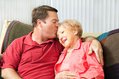 Caring For Elderly Mother Stock Photos