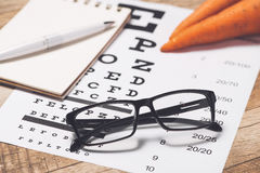 Caring for eye sight by healthy eating. Concept. View from above.  Royalty Free Stock Images