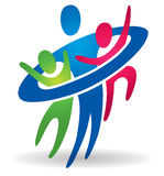 Caring Family Health logo. A family group gathers together to care for each other with a big hug Stock Photography