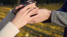 Caring guy treating his beloved with warm beverage to go during date in park. Stock footage stock footage
