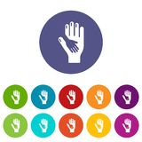 Caring hand icons set vector color. Caring hand icons color set vector for any web design on white background vector illustration