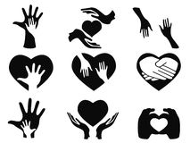 Caring hands icons set Royalty Free Stock Photos