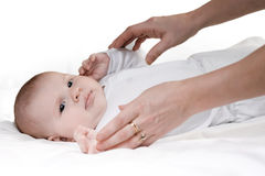 Caring hands of mother Stock Images