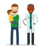 Caring for the health of the child. The pediatrician and the father with son on a white background. African doctor. Family doctor. Vector illustration in a Stock Photo