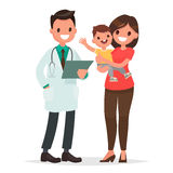 Caring for the health of the child. The pediatrician and the mot. Her with a baby on a white background. Vector illustration in a flat style Royalty Free Stock Photo