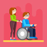 Caring for invalid. Disabled person care. Royalty Free Stock Images