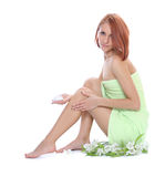 Caring for legs Stock Photo
