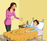 Caring mother and sick child. Illustration of caring mother giving pill to her sick boy Stock Photography