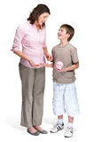 Caring mother teaching her son to save money Royalty Free Stock Photos