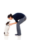 Woman playing dog Stock Photo
