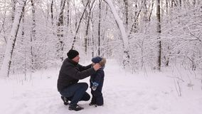 Young dad walking with son in winter Park. stock video