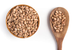 Carioca Beans into a bowl. In white background royalty free stock images
