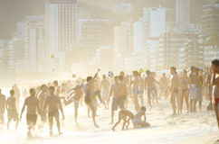 Carioca Brazilians Playing Altinho Beach Football Royalty Free Stock Image