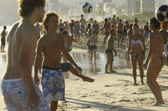 Carioca Brazilians Playing Altinho Beach Football Royalty Free Stock Photos