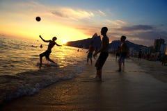 Carioca Brazilians Playing Altinho Beach Football Rio Stock Photo