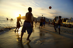 Carioca Brazilians Playing Altinho Futebol Beach Football Royalty Free Stock Photo