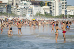 Carioca Brazilians Standing Ipanema Beach Shore Royalty Free Stock Photos