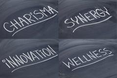 Carisma, sinergia, innovación, salud Imágenes de archivo libres de regalías