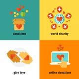 Carità e donazione, servizi sociali di aiuto, lavoro volontario, non concetti piani di vettore di organizzazione di profitto illustrazione vettoriale