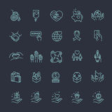 Carità - linea moderna icone e pittogrammi di vettore di progettazione messi Fotografia Stock