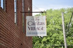 Caritas Village Community Cafe Street Sign, Memphis, TN royalty free stock images