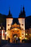 Carl Theodor Old Bridge in Heidelberg nachts Stockfotografie