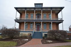 Carl Vogt House. This is a picture of the Carl Vogt House in Tinley Park, Illinois. The house was built as a southern mansio in 1865, and had a two wrap around stock photography