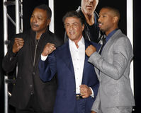 Carl Weathers, Sylvester Stallone and Michael B. Jordan Stock Photo