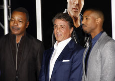 Carl Weathers, Sylvester Stallone and Michael B. Jordan Stock Photos