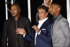 Carl Weathers, Sylvester Stallone and Michael B. Jordan Stock Photo