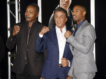 Carl Weathers, Sylvester Stallone and Michael B. Jordan Stock Images