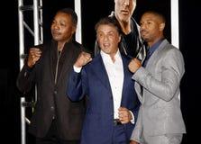 Carl Weathers, Sylvester Stallone und Michael B jordanien lizenzfreie stockfotos