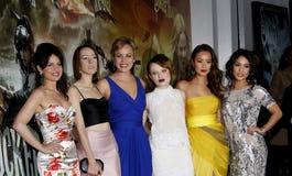 Carla Gugino, Jena Malone, Abbie Cornish, Emily Browning, Jamie Chung och Vanessa Hudgens Arkivbilder