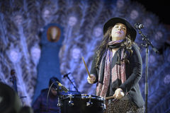 Carla Morrison on drums Stock Images